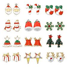 images of christmas earrings amazon com women christmas earring stud 12 pairs hypoallergenic