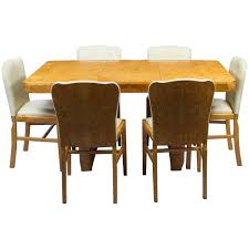 antique art deco bird u0027s eye maple dining table and six chairs for
