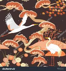 seamless pattern birds crane heron japanese stock vector 382659607