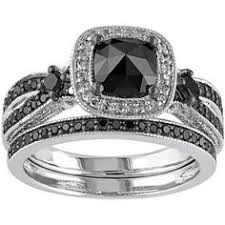 Black Diamond Wedding Ring Sets by Interchangeable Round Cut Created White Sapphire With Black
