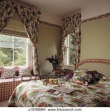 Blinds And Matching Curtains Stock Photo Of Cream Blinds And Red Green Floral Curtains And