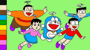 learn colors for kids and color doraemon nobita shizuka all suneo