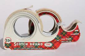 Scotch Plaid Vintage Christmas Print Gift Wrap Tapes In Mid Century Scotch
