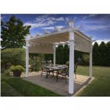 White Vinyl Pergola by New England Arbors Malibu 10 Ft X 10 Ft White Vinyl Pergola With