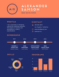 infographic resume orange blue simple infographic resume templates by canva