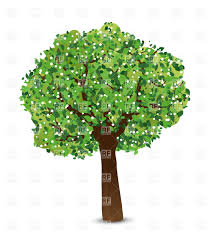 spring tree with green leaves and white flowers vector clipart