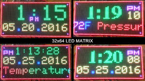 64x32 rgb led matrix display clock arduino mega2560 with bmp180