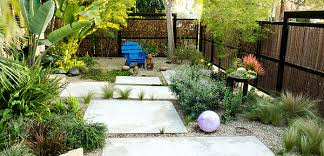 outdoors back yard design with rock garden and solid pathway