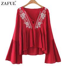 flowy blouses barato flowy zaful 2017 mulheres bordado blusa boho étnica retro