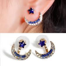 back stud earrings sparkles ear jacket stud half moon earrings back ear cuffs stud e