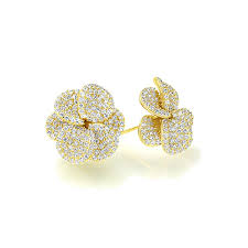 gold second studs accent sterling silver 14k gold plated beautiful pave cz