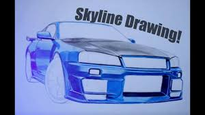 nissan skyline drawing nissan skyline gtr34 amazing drawing autozeichnung step by