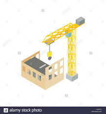 construction of house with tower crane icon stock vector art