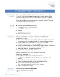 Receptionist Resume Objective Resume Objective Medical Receptionist Free Resume Example And