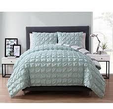 aqua blue pinch pleated square pattern duvet cover king set