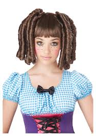 halloween costume wigs girls brunette baby doll curls wig with bangs halloween costumes