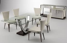 Contemporary Dining Room Furniture Brown Wooden Table With Four Legs Combined With Black