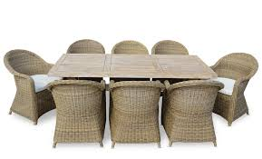 tahitian solid teak 2 1m outdoor table with plantation rattan