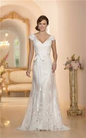 a line v neck cap sleeve open back lace wedding dress with sash
