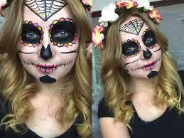 simple sugar skull halloween makeup tutorial youtube
