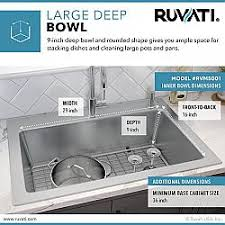 what size undermount sink for 33 inch base cabinet ruvati rvm5001 modena 33 x 22 inch drop in topmount 16 stainless steel single bowl kitchen sink