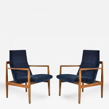 jens risom pair of floating jens risom lounge chairs in navy