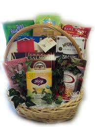 a healthy gift basket with foods to help lower blood