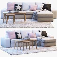 Ikea Sofa Chaise Lounge Ikea Kivik 3 Two Seat Sofa With Chaise Longue 3d Model