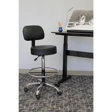 Heavy Duty Tall Drafting Chair by Boss Black Caressoft Medical Stool With Back Cushion B245 Bk The