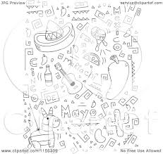 cartoon clipart of a black and white collage of cinco de mayo