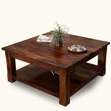 rustic solid wood sierra nevada 2 tier square shaker coffee table