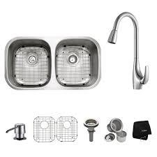 kraus 28 inch undermount sink kraus all in one undermount stainless steel 32 in 50 50 double bowl
