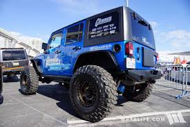 drift jeep 2017 sema currie blue jeep jk wrangler unlimited