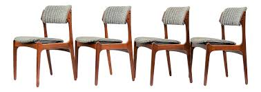 Mcm Dining Chairs by Erik Buch Mobler Danish Modern Solid Teak Wood Upholstered Dining