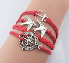 anchor bracelet women images Christmas gift compass silver bracelet two birds bracelets JPG