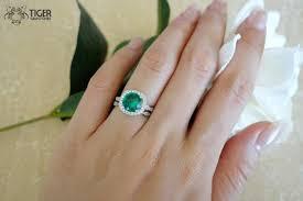 green wedding rings 2 75 carat halo wedding set vintage bridal rings made green