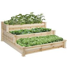 bcp wooden raised vegetable garden bed 3 tier elevated planter kit