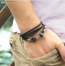 anchor leather bracelet man images 2018 wholesale anchor bracelet men leather braclets mens vintage jpg