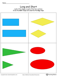 long and short shapes in color worksheets shape and shorts