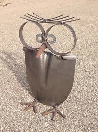 owl yard recycled garden yard sculpture metal yard