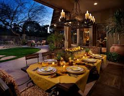 Casual Table Setting Casual Table Setting Patio Mediterranean With Chandelier