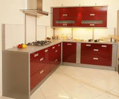 kitchen futuristic with red white color and design floor kitchens