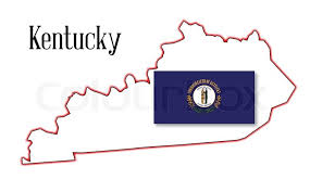 kentucky flag map state map outline of kentucky a white background with flag