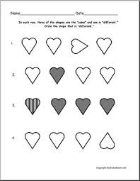 worksheet same or different hearts pre k primary abcteach