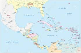 Map Caribbean Sea by America Central And Caribbean Map Royalty Free Cliparts Vectors