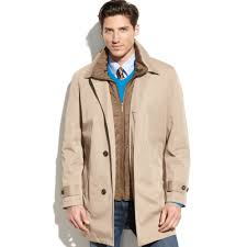 london fog bailey all weather trench coat in natural for men lyst