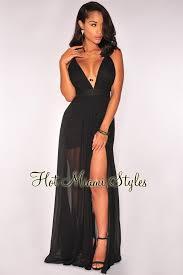 black crisscross back high front slit maxi dress