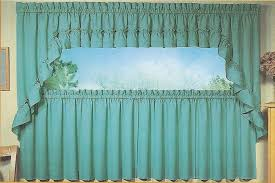Ruffled Kitchen Curtains Stacey Solid Color Ruffled Swags Kitchen Curtains Pair Window