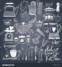 vintage kitchen set vector on chalkboard stock vector 178264424