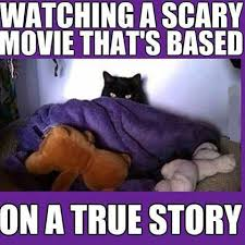 Funny Scary Memes - watching scary movie funny pictures quotes memes funny images